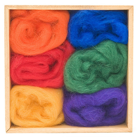 Rainbow Wool Roving Color Pack