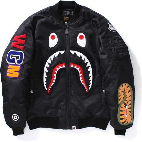 "A BATHING APE BAPE SHARK MA-1 ""BLACK"" JACKET"