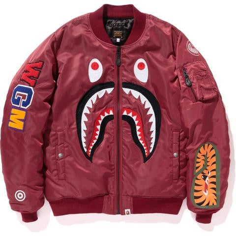 "A BATHING APE BAPE SHARK MA-1 ""MAROON"" JACKET"
