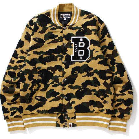"A BATHING APE ""1ST CAMO"" YELLOW SWEAT VARSITY LETTERMAN JACKET"