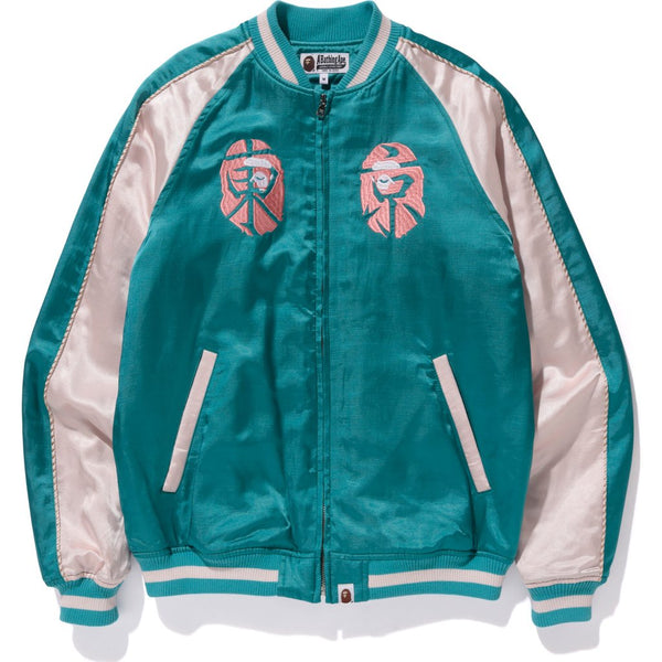 "A BATHING APE ""TEAL"" SOUVENIR JACKET"