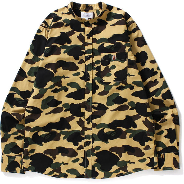 "A BATHING APE BAPE 1ST CAMO ""YELLOW"" BAND COLLAR BUTTON UP"
