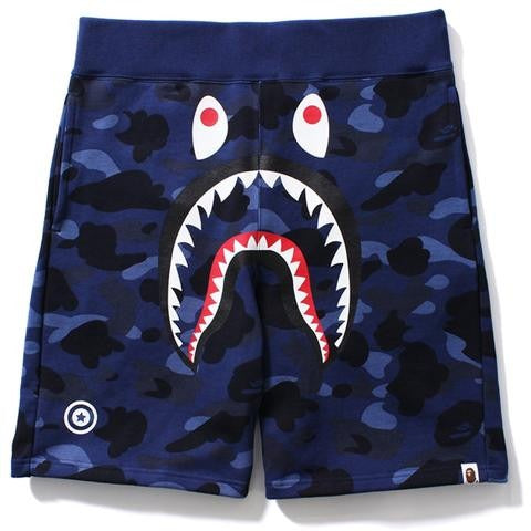 "A BATHING APE BAPE ""NAVY BLUE"" COLOR CAMO SHARK SWEAT SHORTS"