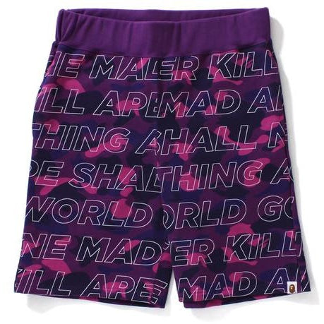 "A BATHING APE BAPE TEXT ""PURPLE"" COLOR CAMO SWEAT SHORTS"