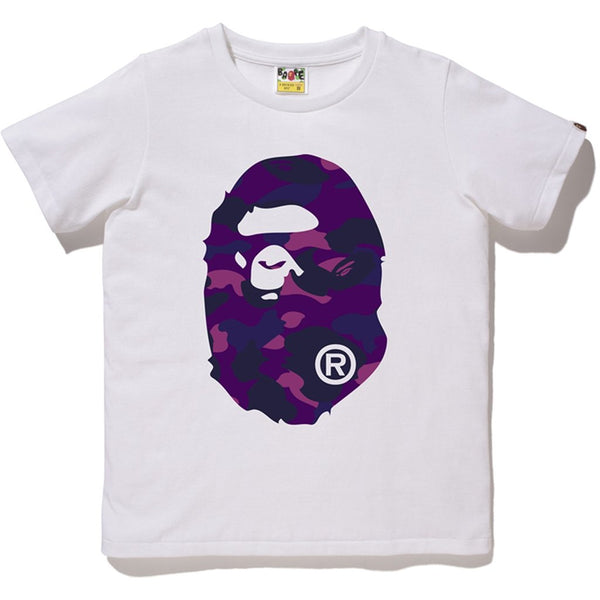 "A BATHING APE BAPE PURPLE CAMO BIG APE HEAD ""WHITE"" T-SHIRT"