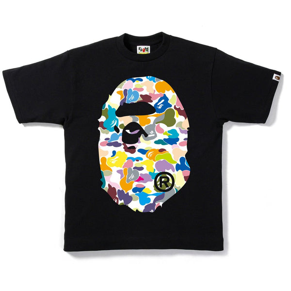 "A BATHING APE BAPE MULTI CAMO BIG APE HEAD ""BLACK"" T-SHIRT"