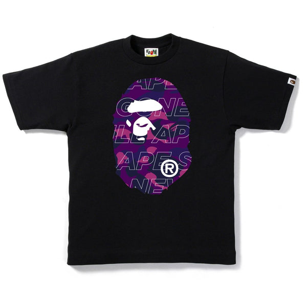 A BATHING APE BAPE TEXT COLOR PURPLE CAMO T-SHIRT