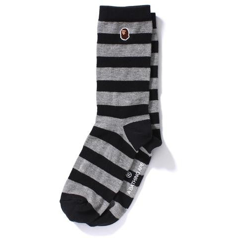 "A BATHING APE BAPE HOOP SOCKS ""BLACK/GREY"""