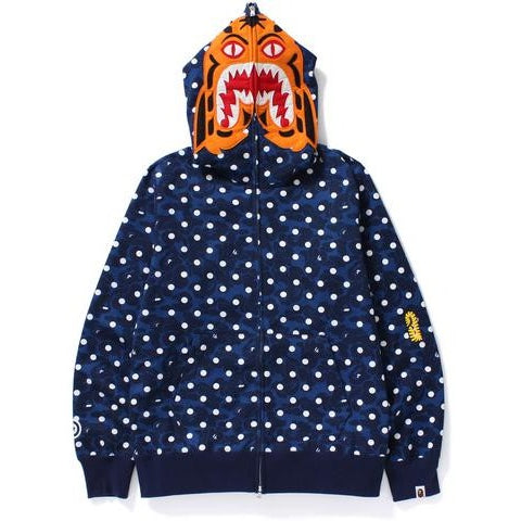 "A BATHING APE ""NAVY"" ABC DOT TIGER FULL ZIP HOODIE"