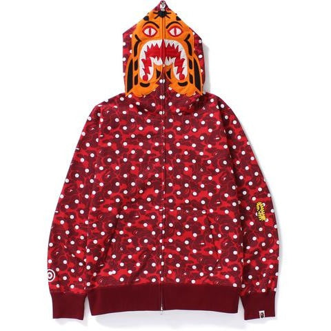 "A BATHING APE ""RED"" ABC DOT TIGER FULL ZIP HOODIE"
