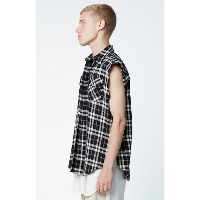 FOG x Pacsun White/Black Plaid Flannel Cutoff Button Up Shirt