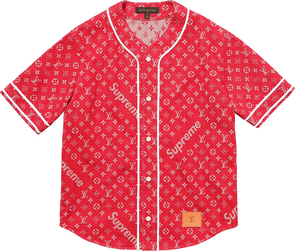 "LOUIS VUITTON x SUPREME ""RED"" Denim Baseball Jersey"