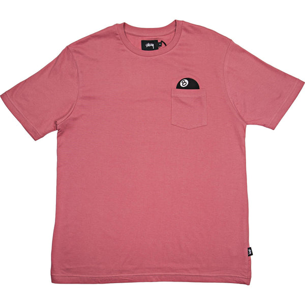 "STUSSY 8 BALL POCKET ""ROSE PINK"" T SHIRT"