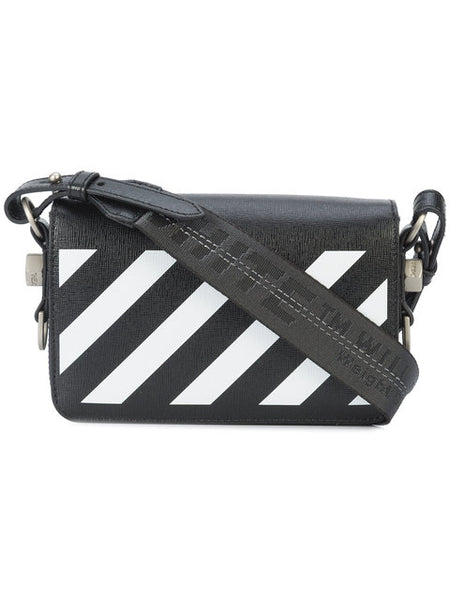 "OFF WHITE ""Black & White"" Diagonal Mini Leather Crossbody Bag"