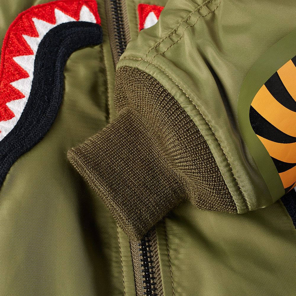 "A BATHING APE BAPE SHARK MA-1 JACKET ""OLIVE"""