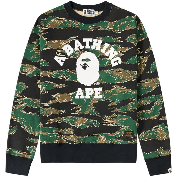 A Bathing Ape Tiger Camo College Crewneck