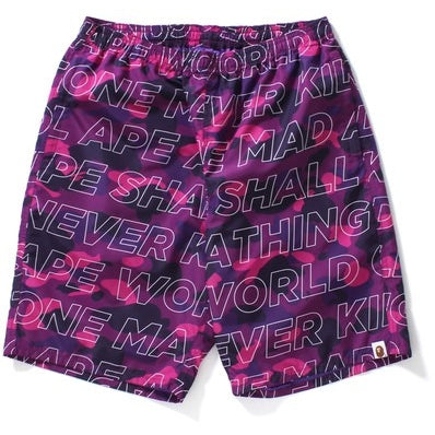 "A BATHING APE BAPE Text ""PURPLE"" Color Camo Beach Shorts"