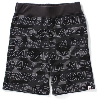 "A BATHING APE Text ""Black"" Color Camo Sweat Shorts"
