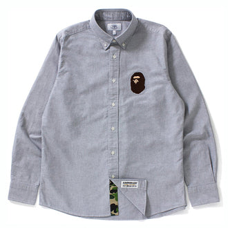 "A BATHING APE BAPE LARGE APE HEAD OXFORD ""GREY"" BUTTON DOWN SHIRT"