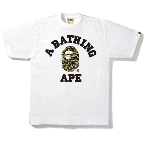 A Bathing Ape 1st Camo College Tee- WHITE/YELLOW