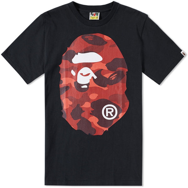 A Bathing Ape Black/Red Color Camo Big Ape Head Tee