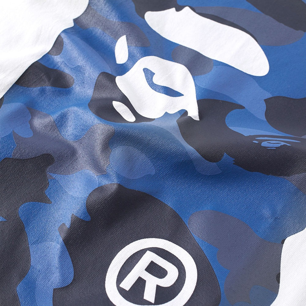 A Bathing Ape White/Navy Color Camo Big Ape Head Tee