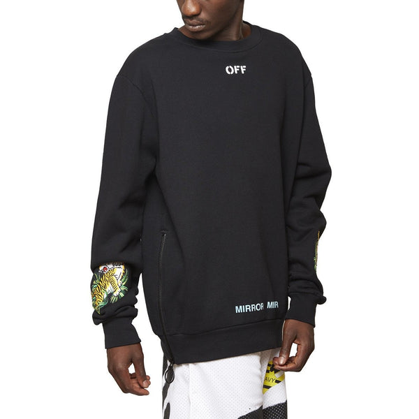 OFF-WHITE C/O VIRGIL ABLOH TIGER CREWNECK - BLACK/WHITE