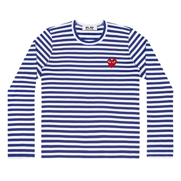 "WOMENS COMME DES GARCON CDG LONG SLEEVE ""NAVY"" STRIPED SHIRT"