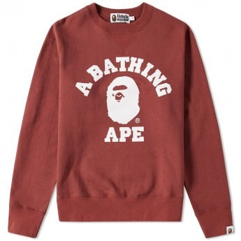 "A Bathing Ape College Crewneck ""Burgundy"" Sweater"