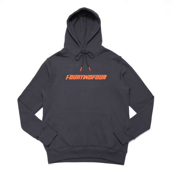 "424 FASTFONT HOODED SWEATSHIRT ""CHARCOAL GREY/ORANGE"""