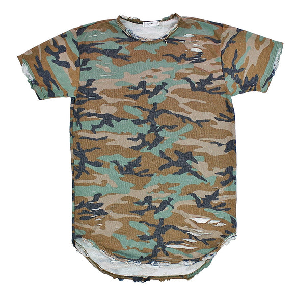 "EPTM ELONGATED DISTRESSED ""CAMO"" T-SHIRT"