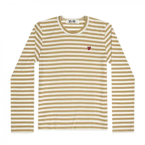 "Play COMME DES GARCON Little Red Heart ""OLIVE"" Striped Long-sleeve T-Shirt"
