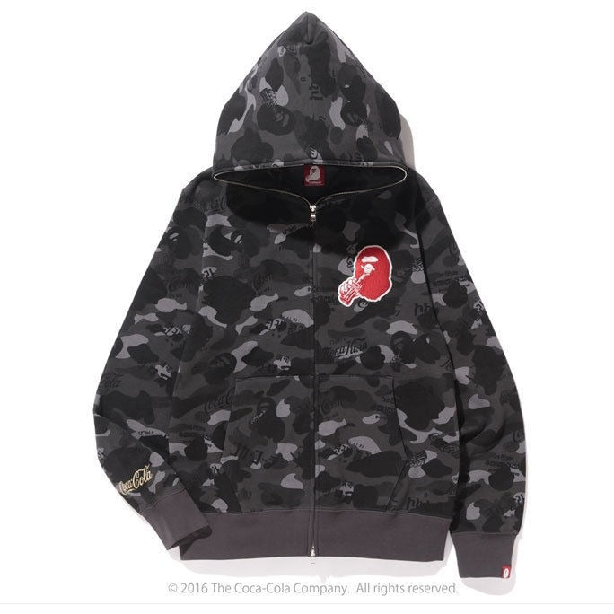 A BATHING APE  x COCA-COLA CAMO FULL ZIP HOODIE