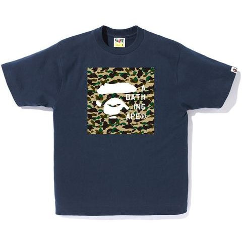 A Bathing Ape Bape Face Tag Logo- NAVY BLUE