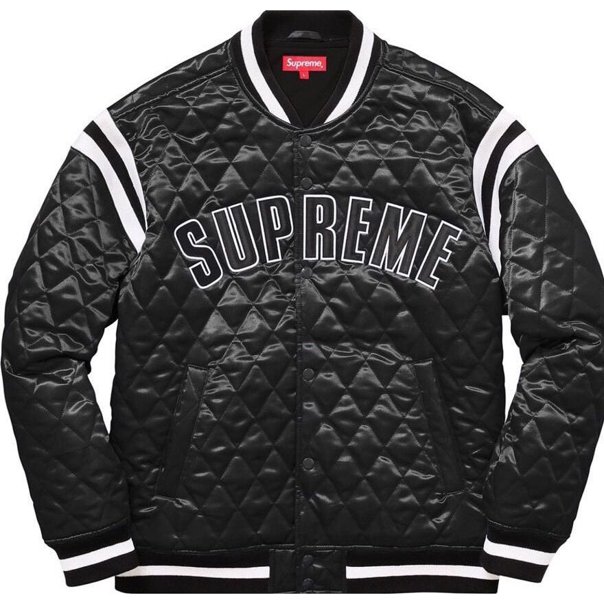 "Supreme Quilted Satin ""BLACK"" Varsity Jacket"