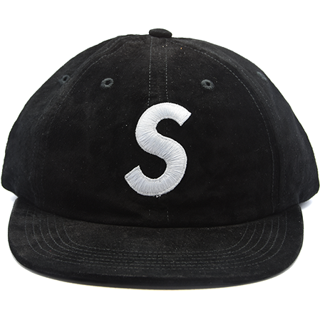 SUPREME 6-PANEL BLACK CAP SUEDE