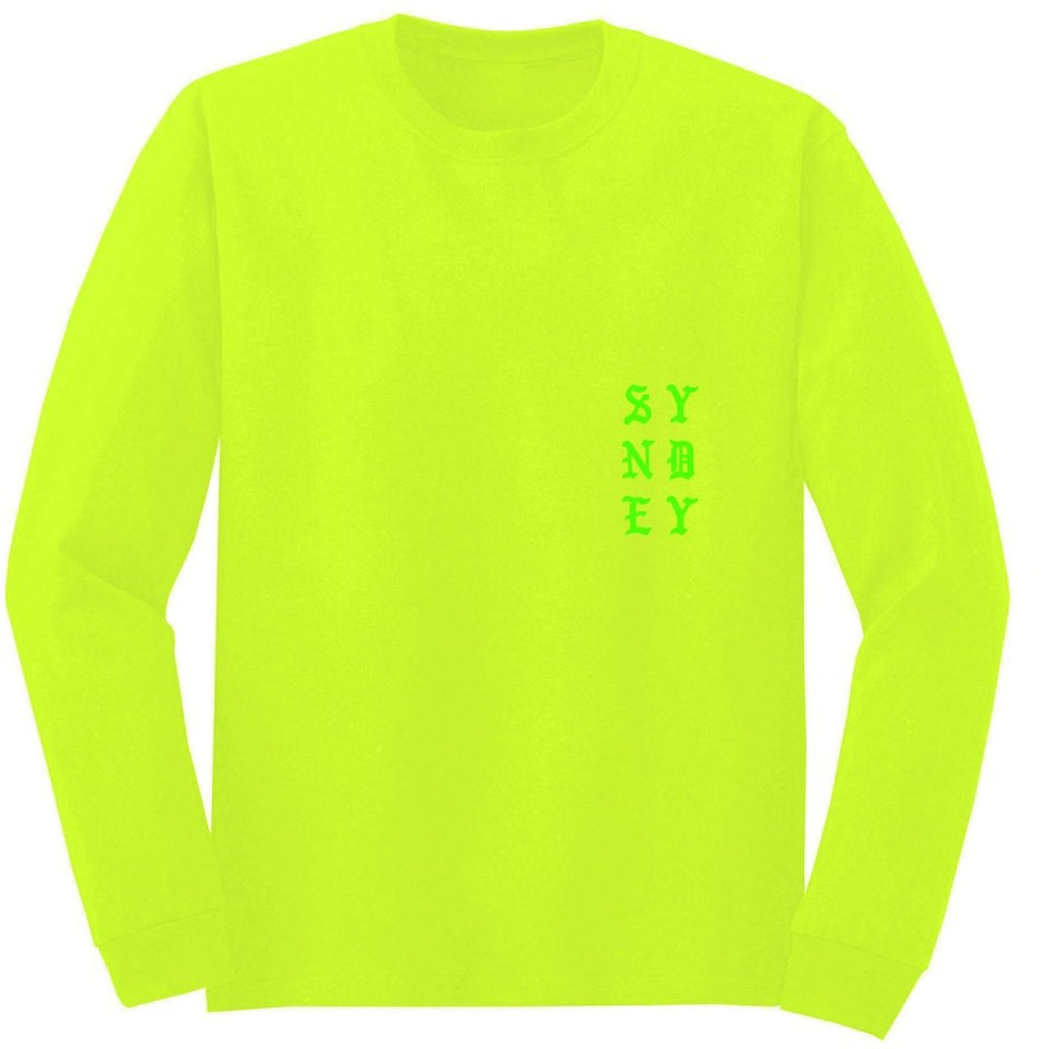 "KANYE WEST ""WE YOUNG AND WE ALIVE"" SAFETY GREEN LONG SLEEVE T SHIRT"
