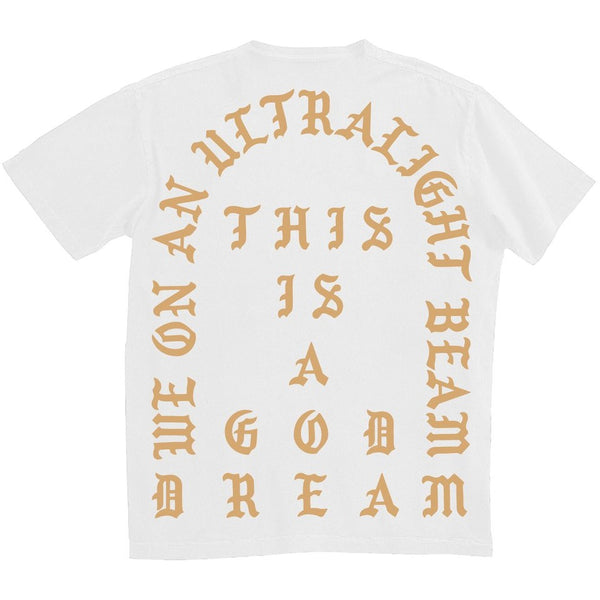 "KANYE WEST ""ULTRALIGHT BEAM"" WHITE T SHIRT"