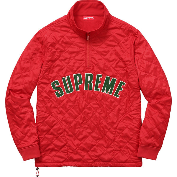 Supreme Arc Logo Red Quilted Half Zip Pullover
