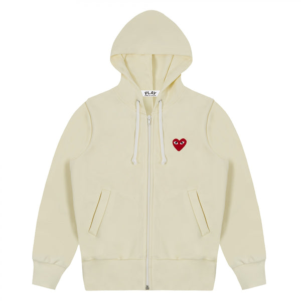 "PLAY COMMES DES GARCON RED HEART ""IVORY"" ZIP-UP HOODIE"