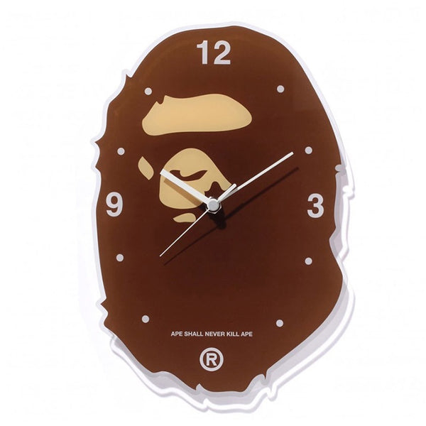 "A BATHING APE BAPE APE HEAD ""BROWN"" WALL CLOCK"