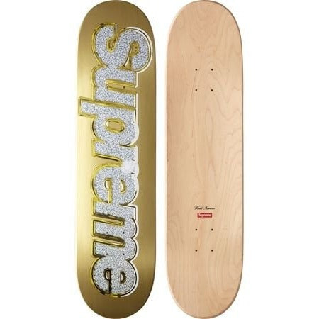 "SUPREME BLING LOGO ""GOLD"" SKATEBOARD"