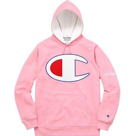 "SUPREME X CHAMPION SATIN LOGO ""PINK"" HOODED SWEATSHIRT SS17"