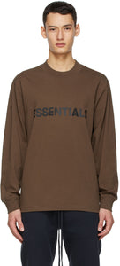 FEAR OF GOD ESSENTIALS x SSENSE Boxy Long Sleeve T-Shirt Applique Logo Rain Drum