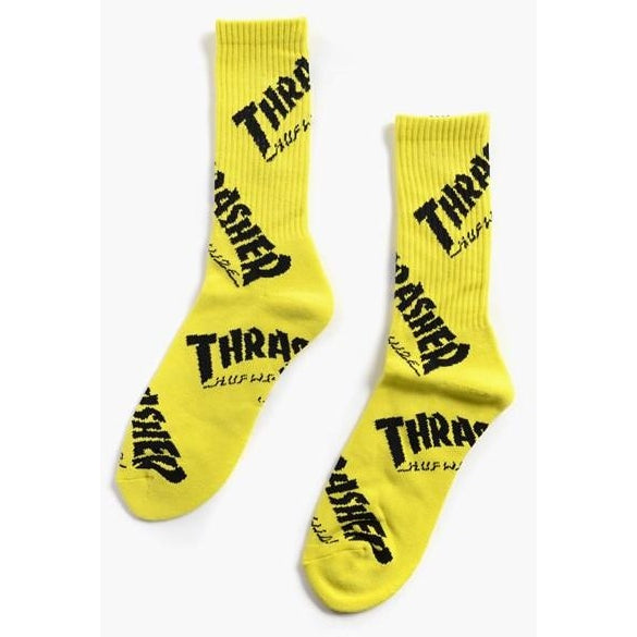 "HUF X THRASHER TDS "" NEON YELLOW"" CREW SOCKS"