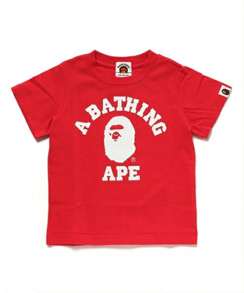 "A BATHING APE BAPE KIDS ""RED"" COLLEGE TEE SHIRT"