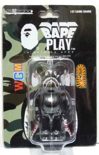 "A BATHING APE  BAPE MEDICOM TOY 1ST CAMO SHARK BE@RBRICK 100% ""BLACK"""