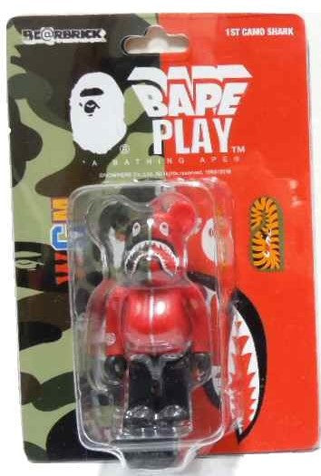 "A BATHING APE  BAPE MEDICOM TOY 1ST CAMO SHARK BE@RBRICK 100% ""RED"""