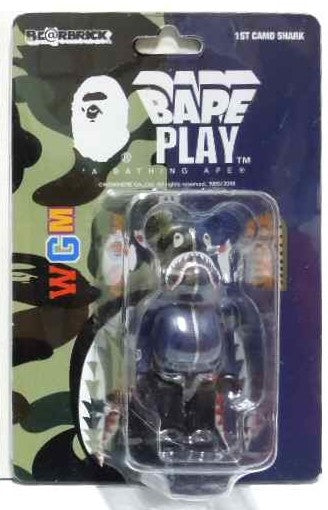 "A BATHING APE  BAPE MEDICOM TOY 1ST CAMO SHARK BE@RBRICK 100% ""BLUE"""