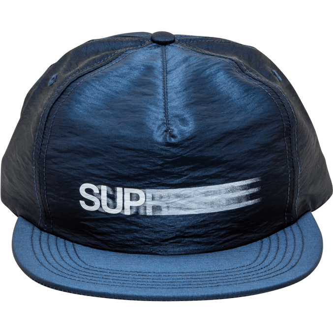 "SUPREME MOTION LOGO IRIDESCENT 5-PANEL ""NAVY"" SNAPBACK"